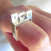 Image of I Heart You Stacking Square Silver Ring - Handmade Custom Initial Stack Square Silver Ring