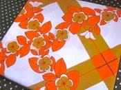 Image of 1970s Orange Pop Flower Tablecloth