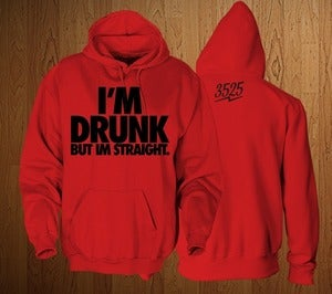 "Image of 3525  ""IM DRUNK"" HOODIE SWEATSHIRT- BLACK & RED"
