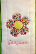 Image of Flower Applique Burp Cloth