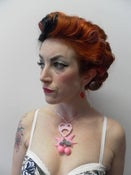 Image of Pink Sweetheart, Doves & Cherry Rockabilly Kitsch Retro Love Heart Necklace