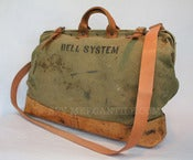 Image of Vintage BELL SYSTEM Canvas &amp; Leather Linemans Tool Bag