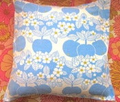 Image of 1970s Apple And Flower Fabric Cushion Cover