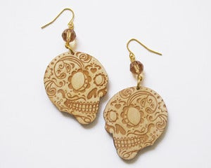 Image of  Wood Sugar Skull Dia de los Muertos Earrings