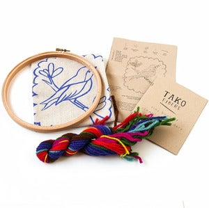 Image of Jeweled Bird Crewel Embroidery Kit