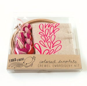 Image of Pink Droplets DIY Crewel Embroidery Kit