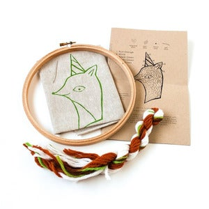 Image of Party Fox Crewel Embroidery Kit