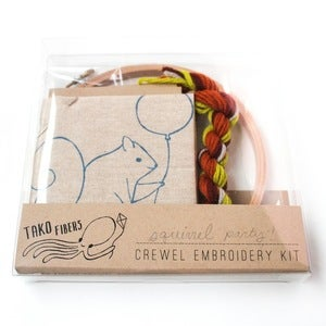 Image of Party Squirrel Crewel Embroidery Kit