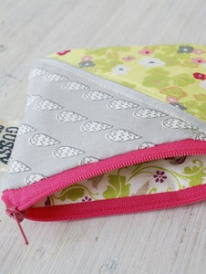 Image of Rain + Floral square zipped pouch