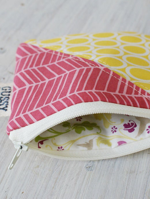 Image of Ovals + Chevron square zipped pouch