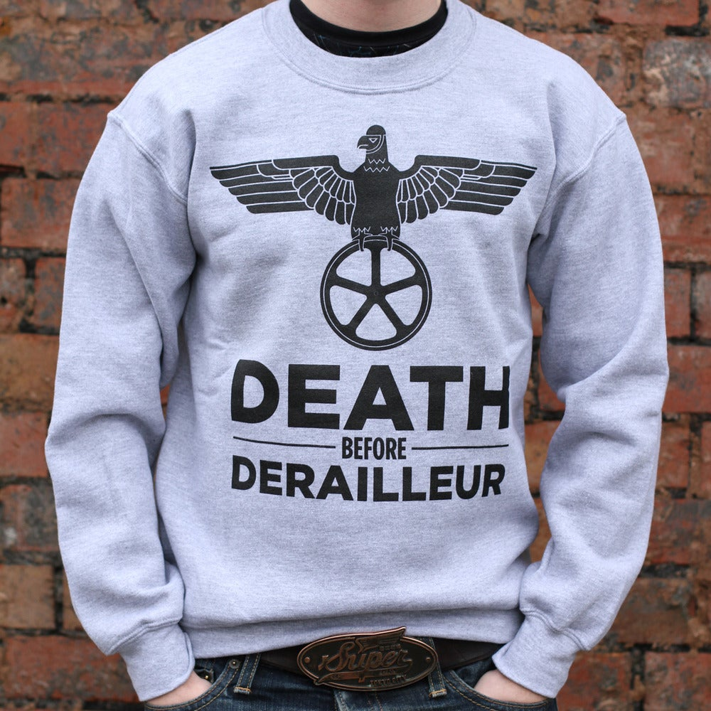 Image of Death Before Derailleur Crewneck Sweatshirt - Athletic Grey