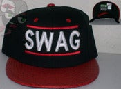 Image of Swag DMC Croc Skin Black/Red Snapback Hat Cap