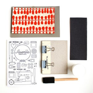Image of Assemble Crafting Kit: Hardcover Bookbinding in Orange Bean Natural Lokta