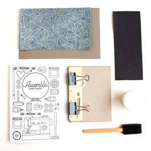Image of Assemble Crafting Kit: Hardcover Bookbinding in Silver Leaf on Gray/Blue Lokta