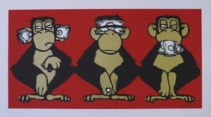 "Image of ""3 Monkeys"" ltd. edition screen print by Mau Mau"