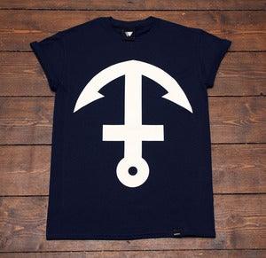 Image of Inverted Anchor Cross - Navy & White