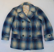 Image of Vintage 1950s HERCULES by Sears Shadow Plaid Wool Pea Coat / Peacoat Size L / XL