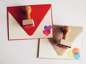 Image of Circle or Heart Rubber Stamp