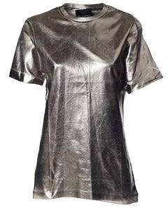 Image of Cynthia Rowley &gt; Silver Metallic Tee
