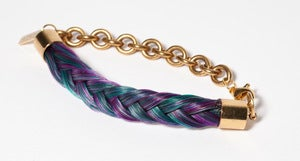 Image of Hand Dyed & Braided Horsehair Chain Bracelet