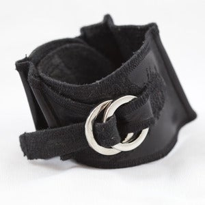 Image of Black Leather H(om)e Cuff Bracelet