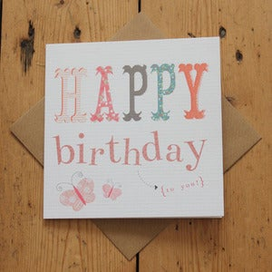 Image of Carnival Kids - Pink Text Birthday Card