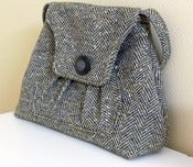 Image of Herringbone Wool Shoulder Bag Purse, Olive Green and Cream 