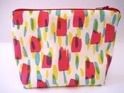 Image of Printed make-up pouch in hot pink/yellow/turquoise