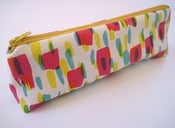 Image of Printed pencil case in hot pink/yellow/turquoise