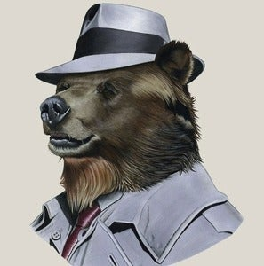 Image of Grizzly Bear Detective Print 8x10