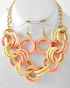 Image of PINK IVORY GOLD TONE NECKLACE & EARRING SET