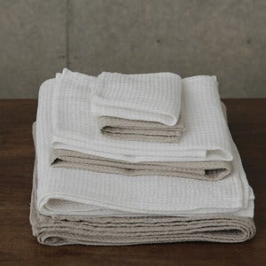 Image of Linen Waffle Towels: White