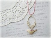 Image of Pink Necklace with Cream Oval Floral and Cream and Pink Bird Necklace