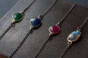 Image of Asymmetrical Gemstone Necklace - mixed metal