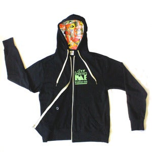 "Image of ""FRESH OUT THE BOX"" Inner Lined Hooded Buddha print French Terry Zip up Sweatshirt"
