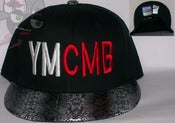Image of YMCMB Snake Skin Bill Two Tone Black Snapback Hat Cap