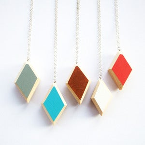 Image of Wooden Geo Diamond Necklace with a Colour Pop!