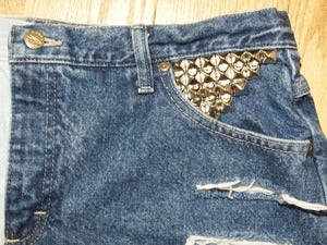 Image of High Waisted Distressed With Angled Pyramid Studded Pocket