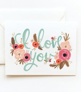 Image of I Love You Floral Card