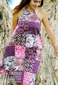 Image of Bohemian Collage Patchwork Halter Neck Dress
