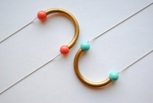 Aqua &amp; Brass Necklace