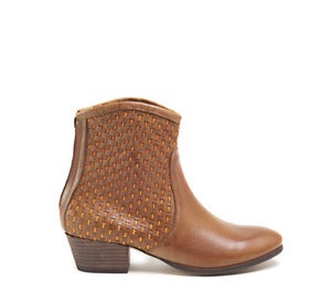 Image of Miista Jana Tan and Orange Leather Woven Ankle Boots
