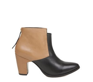 Image of Miista Aile Camel and Black Ankle Boots Gold Heel