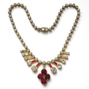 Image of Vintage Edwardian Red & White Glass Paste Floral Brass Metal Necklace