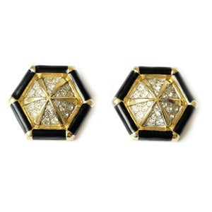 Image of Vintage Nina Ricci Spider Web Black Enamel Diamante Rhinestone Clip On Earrings