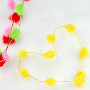 Image of Fuzzy Mini Pom Poms Wired Ribbon