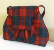 Image of Red and Black Plaid Wool Purse, Shoulder Bag