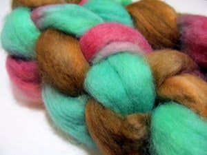 Image of Maine Made: 100% Corriedale Wool Hand Dyed Fiber Braid: Santa Barbara Mission