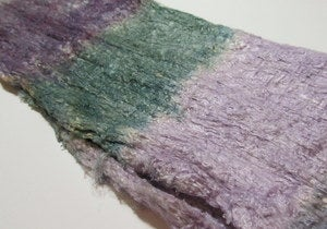 Image of Hand Dyed Silk Cocoon Sheet Blanks (kind of like Silk Hankies :-) Lupine Field