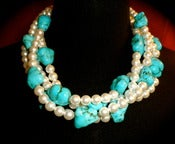 Image of N1204 Four strands of white glass pearls with turquoise nuggets